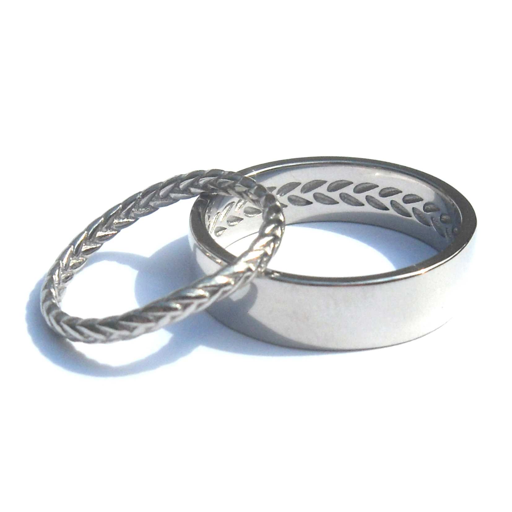bilingual design white gold wedding rings echo braid