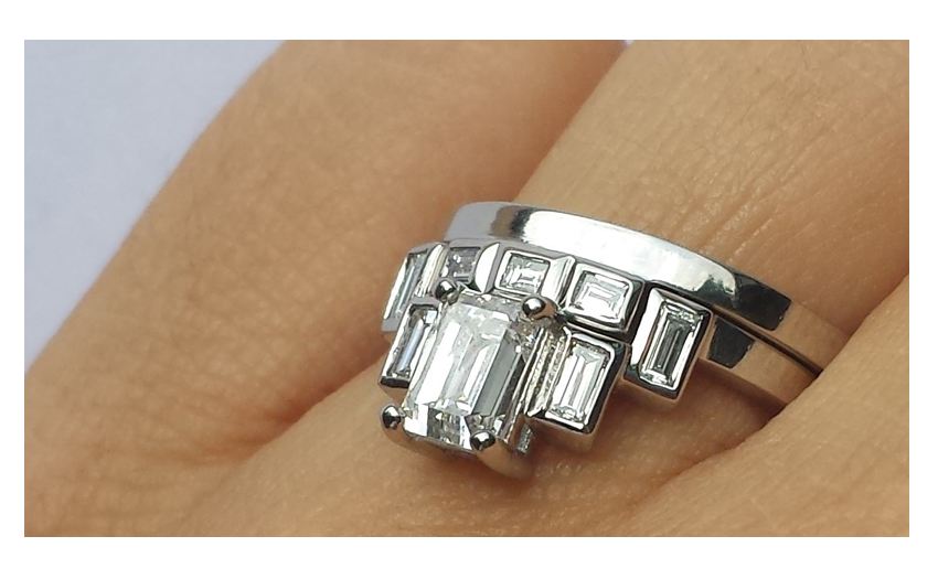 match princess cut ring set engagement band rings stone wedding for and three bands
