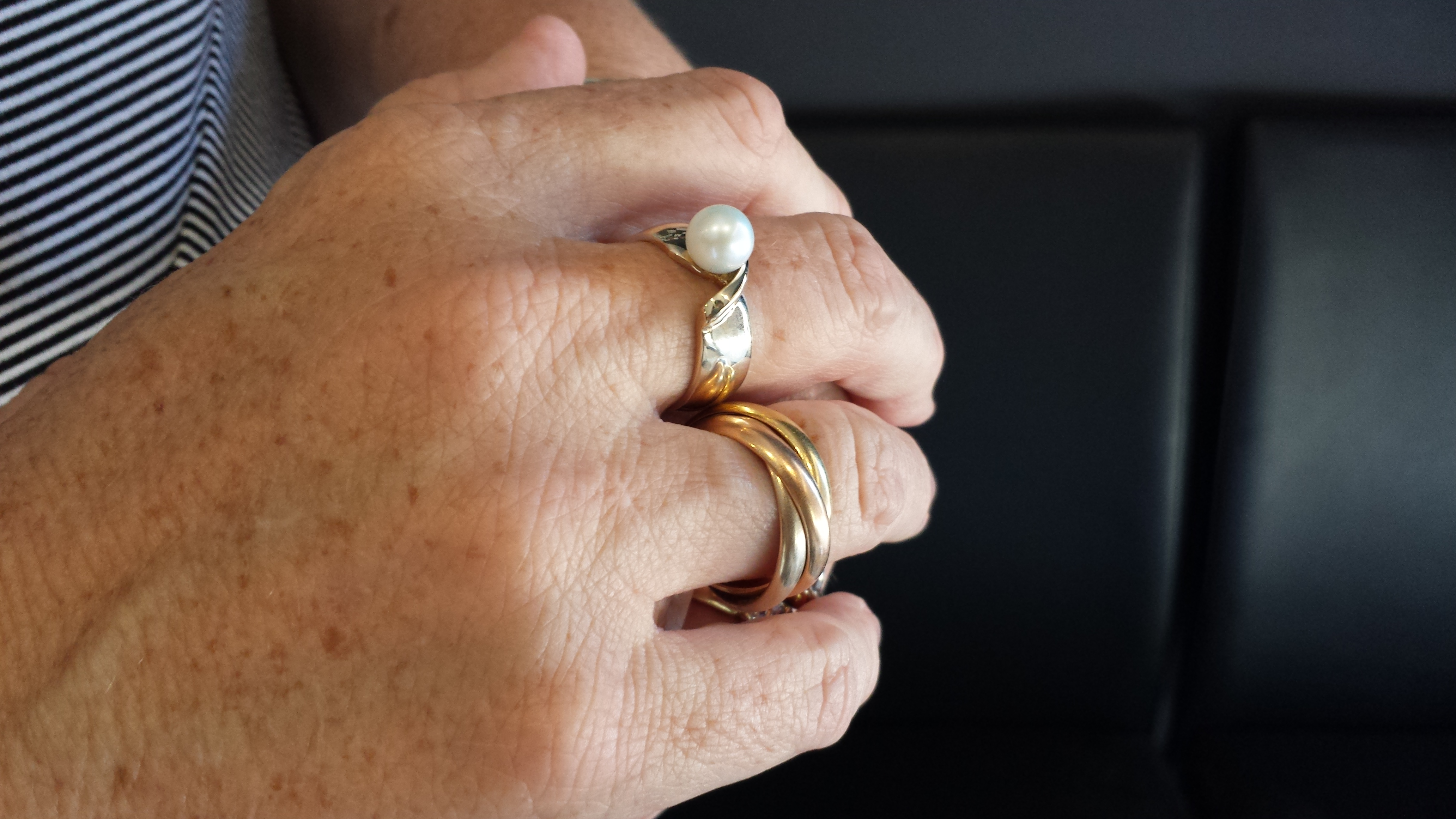 gold pearl ring custom design classic