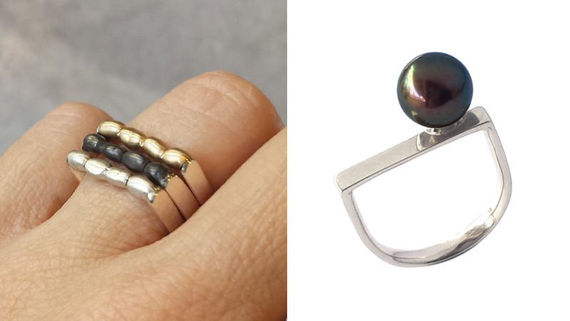 crade_black_Pearl_ring_silver_gold_stack contemporary jewellery