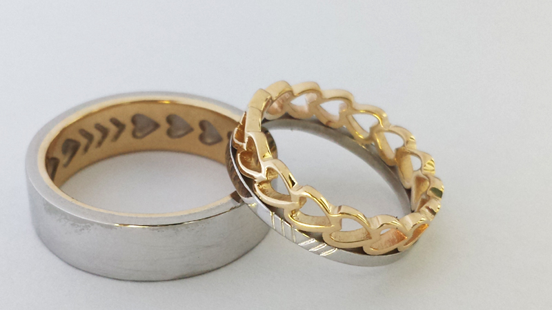 matching_wedding_rings_gold_hearts_yellow_white_cusom_dsign_hollow_cut-out_contemporary jewellery